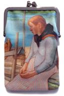 Kankainen kukkaro, johon on painettu osa Juho Rissasen maalauksesta.